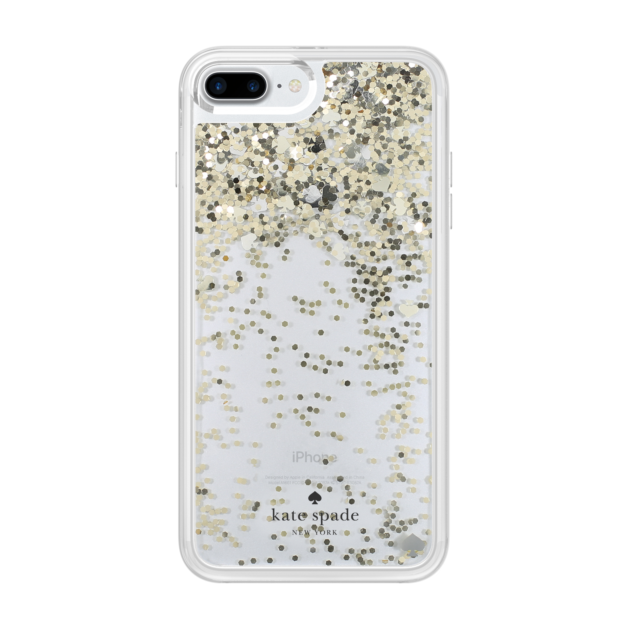 sports shoes 79a44 b31a6 Kate Spade New York Liquid Glitter Case for iPhone 7 Plus - Spades Gold  Glitter/Silver Spades/Gold Spades