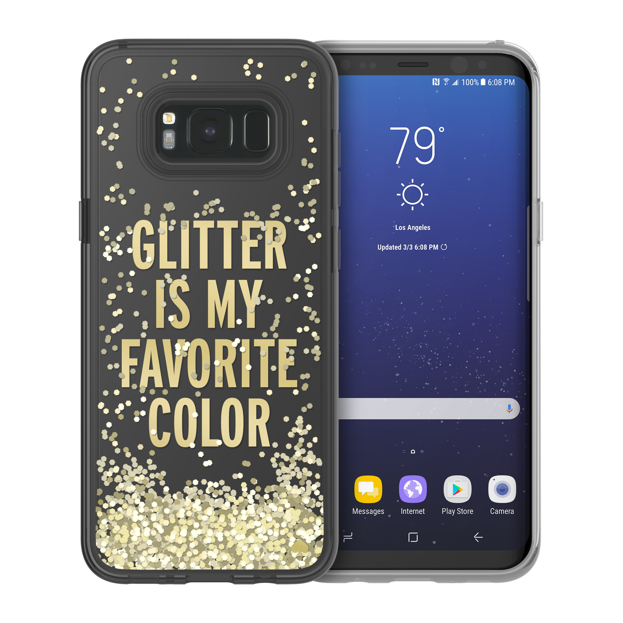 huge discount 3d2f2 1d69a Kate Spade New York Liquid Glitter Case for Samsung Galaxy S8+ - Glitter is  My Favorite Color/Chunky Gold Glitter/Clear