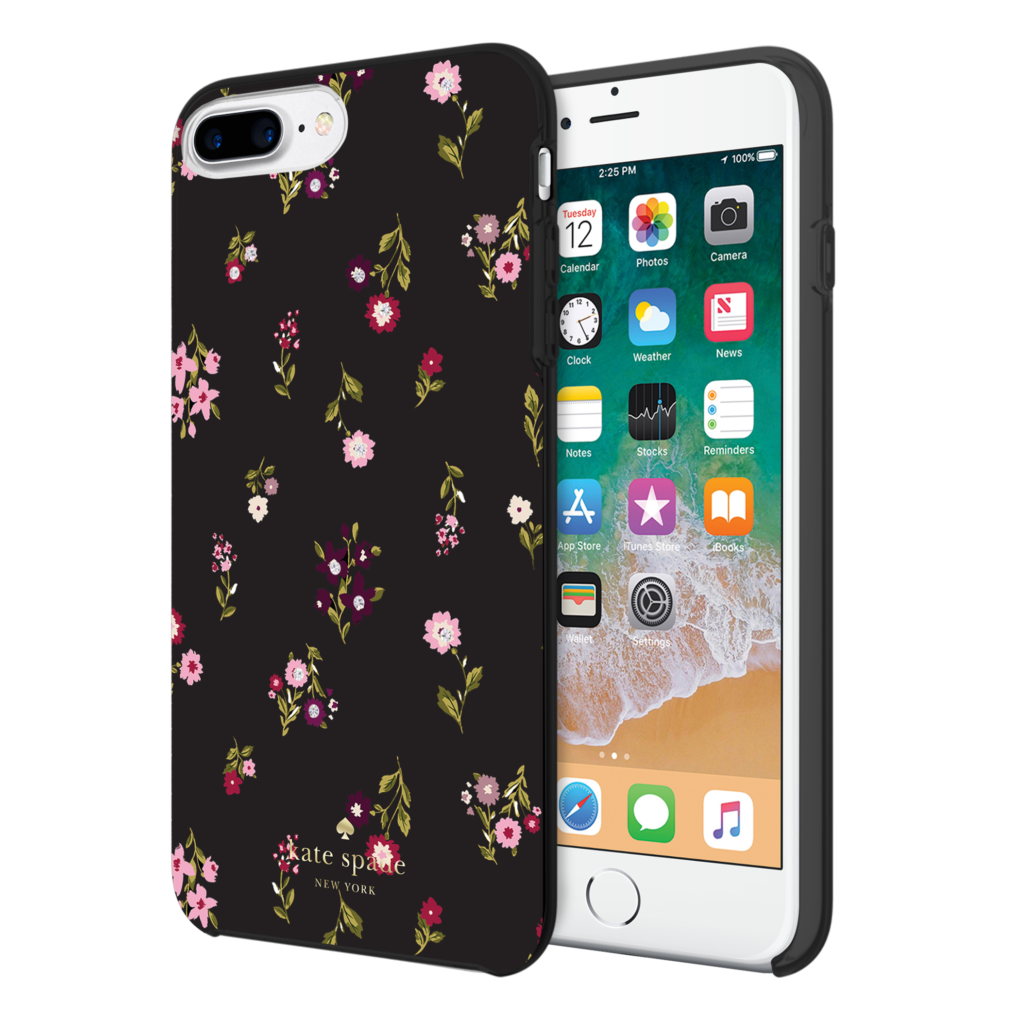 more photos 5301f aa281 Kate Spade New York Protective Hardshell Case (1-PC Comold) for iPhone 8  Plus, iPhone 7 Plus & iPhone 6 Plus/6s Plus - Spriggy Floral  Multi/Black/Gems
