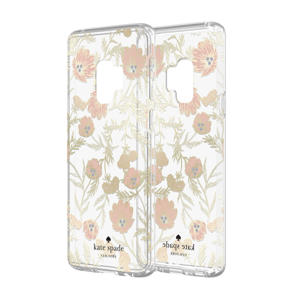 new style 0795e 49d25 Kate Spade New York Protective Hardshell Case for Samsung Galaxy S9 -  Blossom Pink/Clear/Gold with Stones