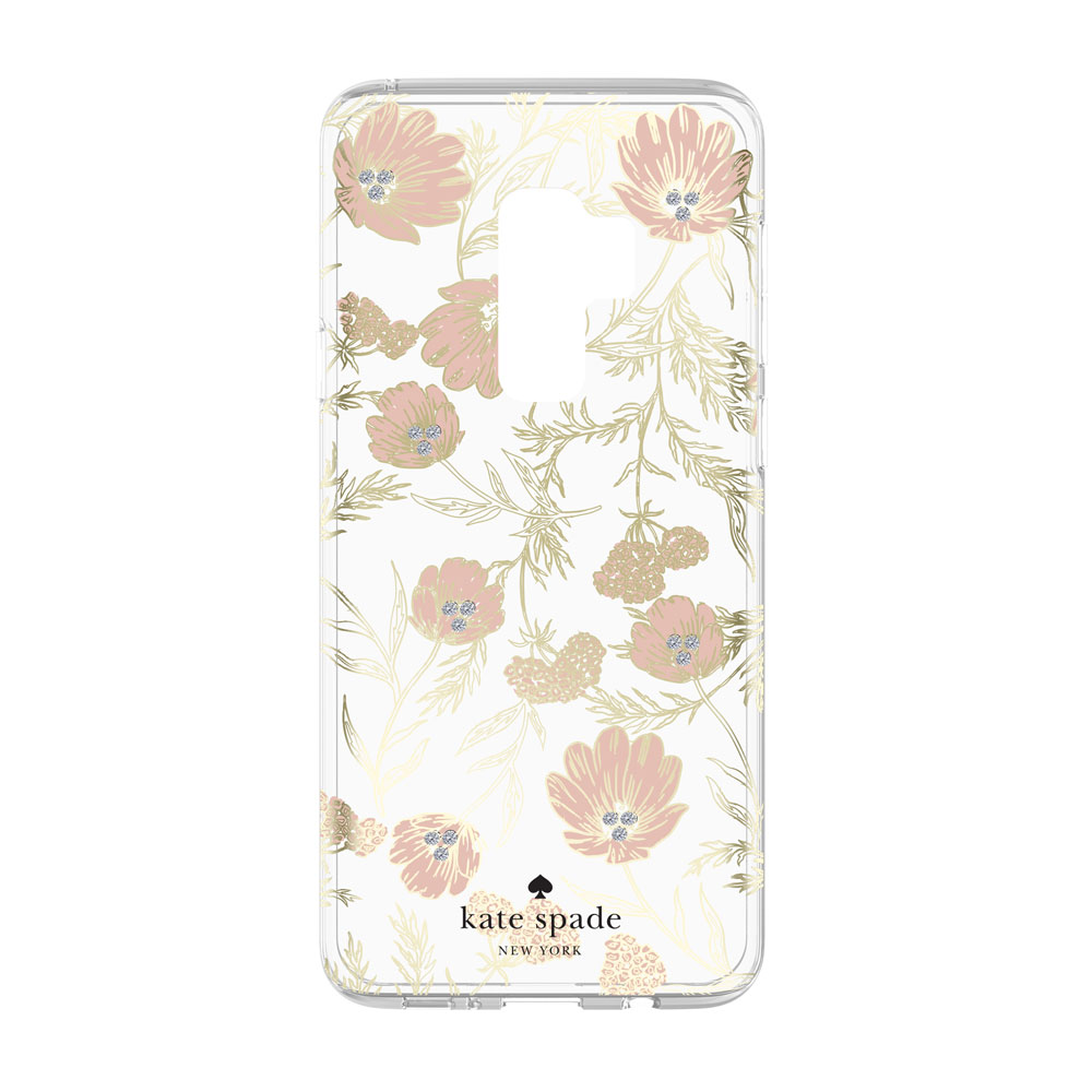 promo code 436e6 e2434 Kate Spade New York Protective Hardshell Case for Samsung Galaxy S9+ -  Blossom Pink/Clear/Gold with Stones